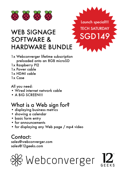 Rpi2+Webconverger launch offer
